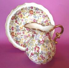 Lefton Chintz Pitcher And Bowl - Unused With Sticker - Hand Painted - Japan