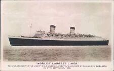 Postcard Shipping Ocean liners Cunard Queen Elizabeth  unposted