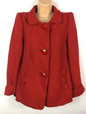 WOMENS ATMOSPHERE RED WOOL RICH LARGE BUTTON BOW DETAIL FITTED WINTER COAT UK 12