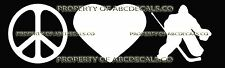 PEACE LOVE HOCKEY GOALIE Vinyl Wall Sticker Car Bumper Window Decal