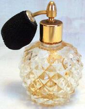 Elegant Atomizer Perfume Bottle Diamond Point Glass Bottom & Goldtone Top