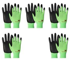 3m Thin Green Work Gloves Nitrile Rubber Palm Coated Grip Touch Screen 5 Pack