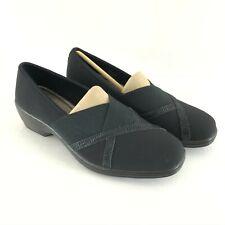 Aravon by New Balance Womens Kendra Clogs Slip On Black Fabric Leather Size 7