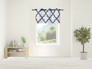 """1PC LINED GEOMETRIC GROMMET PRINTED WINDOW DRESSING VALANCE TOPPER SWAG 37""""X18"""""""
