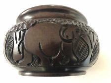 Hand Carved African Wood Bowl - Rhino Rhinoceros Elephant Giraffe Jungle Motif