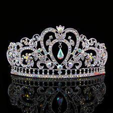 6.5cm High Heart Flower Leaf Full Crystal AB Colour Tiara Crown Wedding Prom