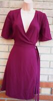 NEW LOOK PURPLE BURGUNDY SHORT SLEEVE WRAP BELTED WRAPPED A LINE SKATER DRESS 10