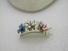 """Vintage 1960's Floral Ponytail Barrette, Pink, White, Blue, 2.25"""", Boho/Retro"""