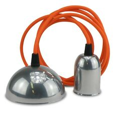 Textil Kabelset Orange / Lampenset Chrome - Fassung E27 und Anschlussabdeckung