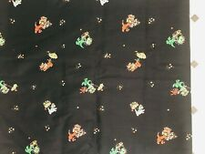 Vintage 1950's fabric novelty print colorful kitties cats parasol flowers