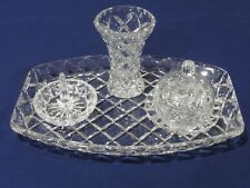 Vintage Diamond Cut Crystal  4 Pieces Dressing Table Set, VGC
