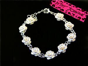 Women Fashion Betsey Johnson Silver flower wreath Jewelry Charm Bracelet