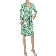 DVF Diane von Furstenberg Vintage 2 Jersey Silk Wrap Around Dress Green White