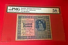 1922 AUSTRIA AUSTRIAN GOVERNMENT 1000 KRONEN PMG 58 EPQ