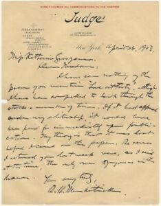 1903 Letter from Editor of Judge to Poet Katherine Grosjean Denying He Has Poem