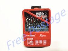 19pcs Metric  Drill Bit Set in Metal Case HSS High Speed Steel 1 - 10mm