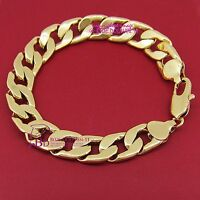 Mens Women Real Solid 18k Yellow Gold GF Curb Bracelet Bangle Chunky Ring Chain