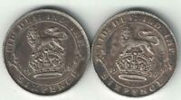 2 X GREAT BRITAIN 6 PENCE KING GEORGE V STERLING SILVER COINS 1911 1916