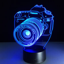 USB Desk Lamp Camera 3D Illusion LED Night Light 7 Colours Changing Touch Swith