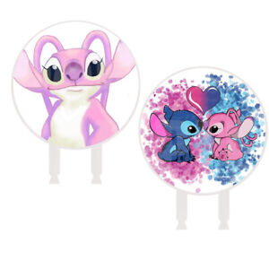 """Angel & Stitch Cake Topper 6"""" Width x 3"""" Stakes Centerpiece Photo Booth Prop"""