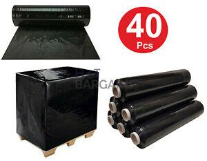 40 X Pallet Wrap Pallet Stretch Shrink Wrap Heavy Duty Black Rolls Packing Wrap