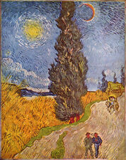 Dream-art hand paint Oil painting Vincent Van Gogh - Road with Cypress and Star