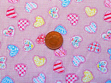 PATTERNED HEARTS ON A TINY DUSKY PINK & WHITE CHECK - 100% COTTON FABRIC FQ