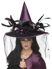 Deluxe Witch Hat Womans Girl Purple Net Feathers Fancy Dress Halloween Horror
