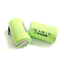 50 pcs AA NiMH 2/3 A 2/3A 1600mAh 1.2V rechargeable battery with tab Green