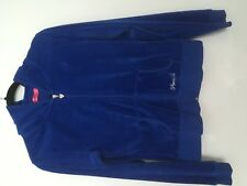GIRLS BLUE PINEAPPLE VELOUR TRACKSUIT TOP (SAYS L) I'D SAY 12/14 YEARS