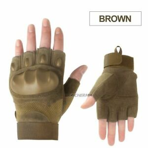 Motorcycle Gloves Half Finger Black Hard Knuckles Cycling Protection Hand Gear