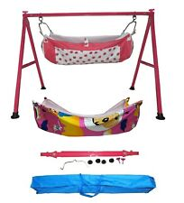 Smart Folding Dark Pink Cradle with two cotton hammock with mosquito net KRT27