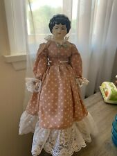 "Vintage Glazed Porcelain China Head Doll 15"" Tall"