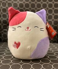 "NWT Squishmallow Bee Happy 8"" Pink/Purple Calico Cat Tiffany Valentine 2020 NEW"