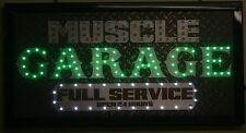 muscle garage full service led lighted sign shop decor neon message display club