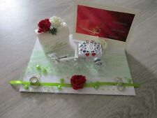 Geldgeschenk mit Namen Tauben Rosen apricot Truhe Baumscheibe Hochzeit