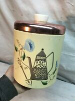 Vintage Ransburg Stackable Coffee Kitchen Canister Tin and Copper lid