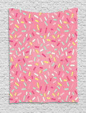 Pink and White Tapestry Donut Sprinkles Print Wall Hanging Decor