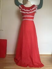 ORIGINAL Vintage 1960's/1970's RED With WHITE Polka Dot FRILLY MAXI DRESS