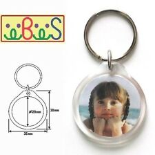 2x Blank Round Acrylic Keyrings 35mm Frame & 29mm Photo key ring plastic 09011
