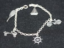 Sterling Silver 5 Charm Bracelet Tennis Racket Roller Skates Bicycle Ship Wheel