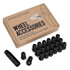 20pc 12x1.5 Lug Nuts with Socket Key | Cone Seat | Long Closed End Black Spline