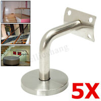 5x Stainless Steel Stair Handrail Guard Rail Mount Banister Support Wall