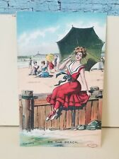 Bathing Beauty On the Beach Embossed Postcard M.W. Taggart 1909 Unposted