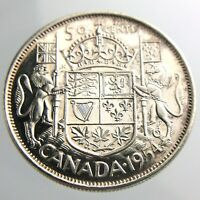 1954 Canada 50 Cents Half Dollar Circulated Elizabeth II Silver Coin Fifty R635
