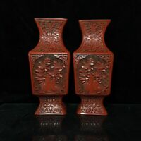 """9"""" Qianlong mark China Antique Lacquer ware wooden handcarved flowers Vase Pair"""