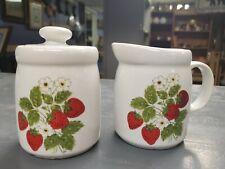 Vintage McCoy 1414 Strawberry Creamer and Sugar Canister set