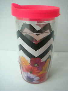 NEW TERVIS Black White Chevron Multi floral Tumbler Glass 16oz with Hot pink lid