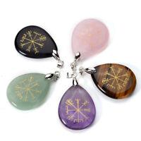 Natural Gemstone Crystal Quartz Teardrop Vegvisir Symbol Pendant Fit Necklace