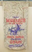 Vintage Monarch of the North 2-Bushel North Dakota Grain Gunny Sack Burlap Bag